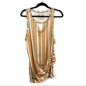 Crazy Train Striped Cut Out Tie Front Tank Top